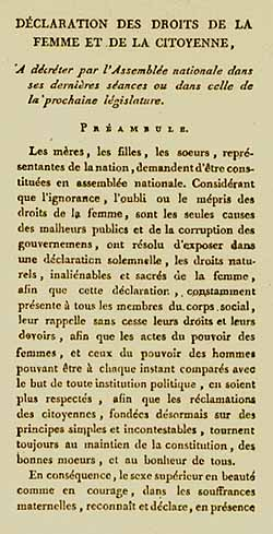 First page of Declaration of the Rights of Woman and the Female Citizen