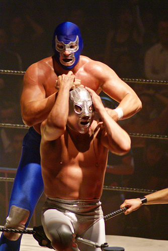 Blue Demon, Jr. wrestles El Hijo del Santo El Hijo De Santo vs Blue Demon Jr.jpg