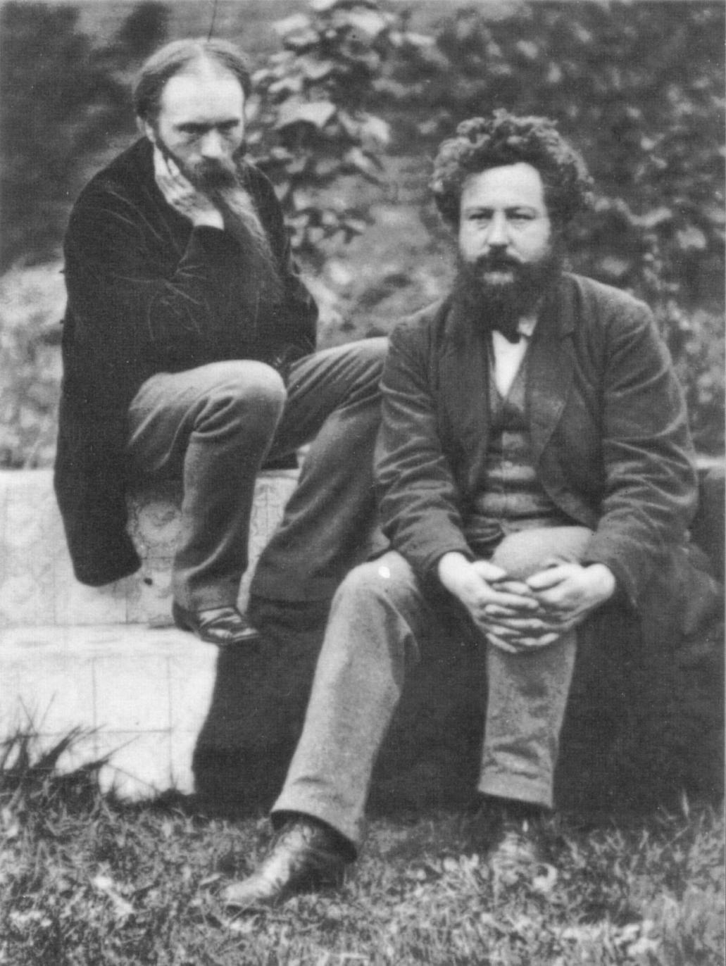 Photograph of Edward Burne-Jones (left) and William Morris (right) at the Grange, 1874
