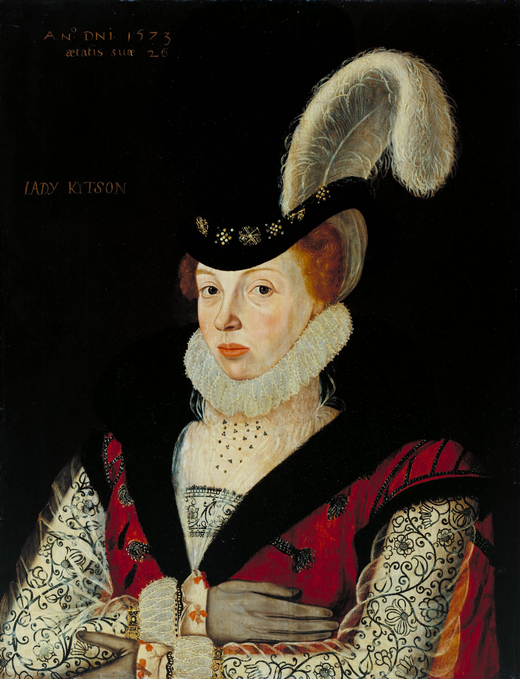 Wilbye's patron Elizabeth Kitson née Cornwallis. Painted in 1573, the year before Wilbye's birth, by [[George Gower