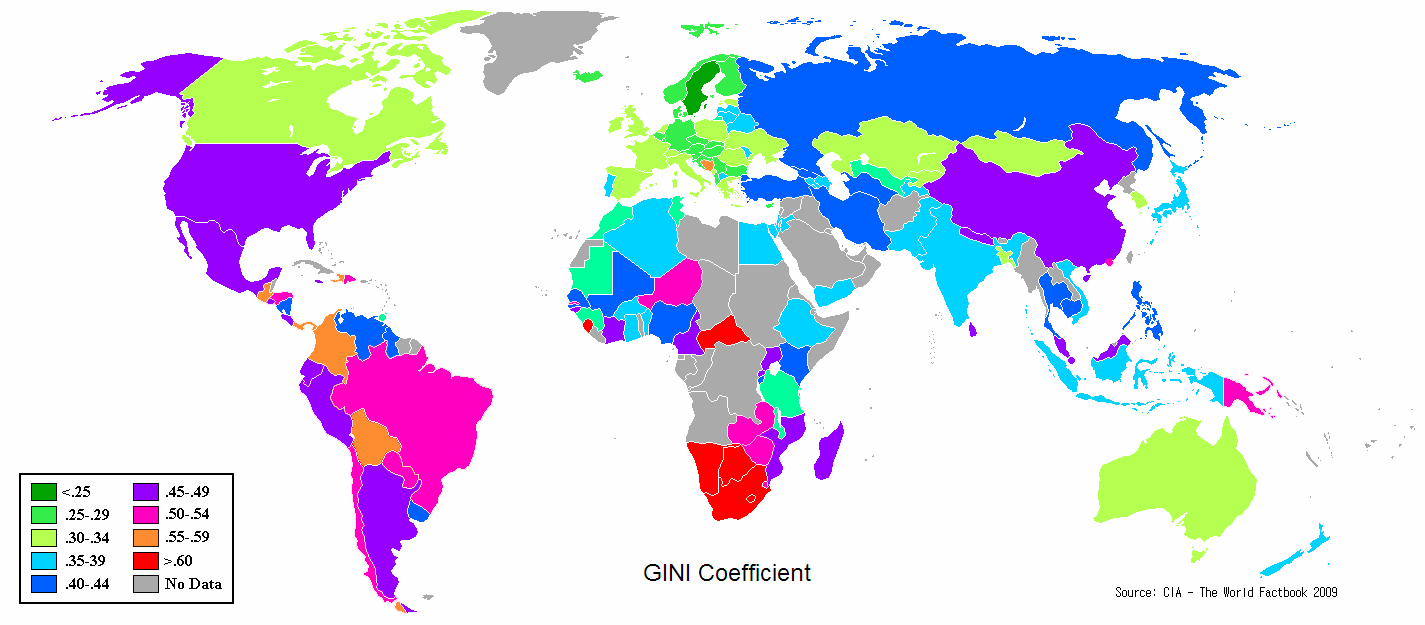 Global Map of Income Inequality Gini Coefficients by Country