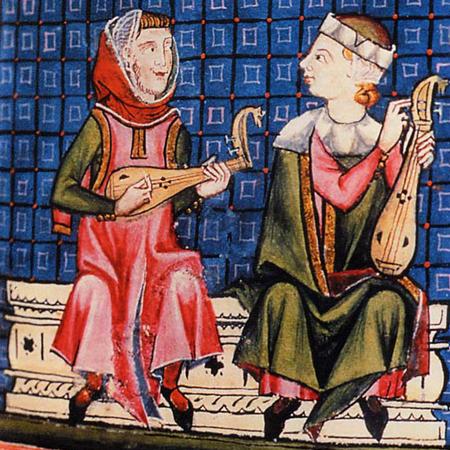 Afbeelding met gittern uit de Cantigas de Santa Maria (afbeelding overgenomen uit Wikipedia)