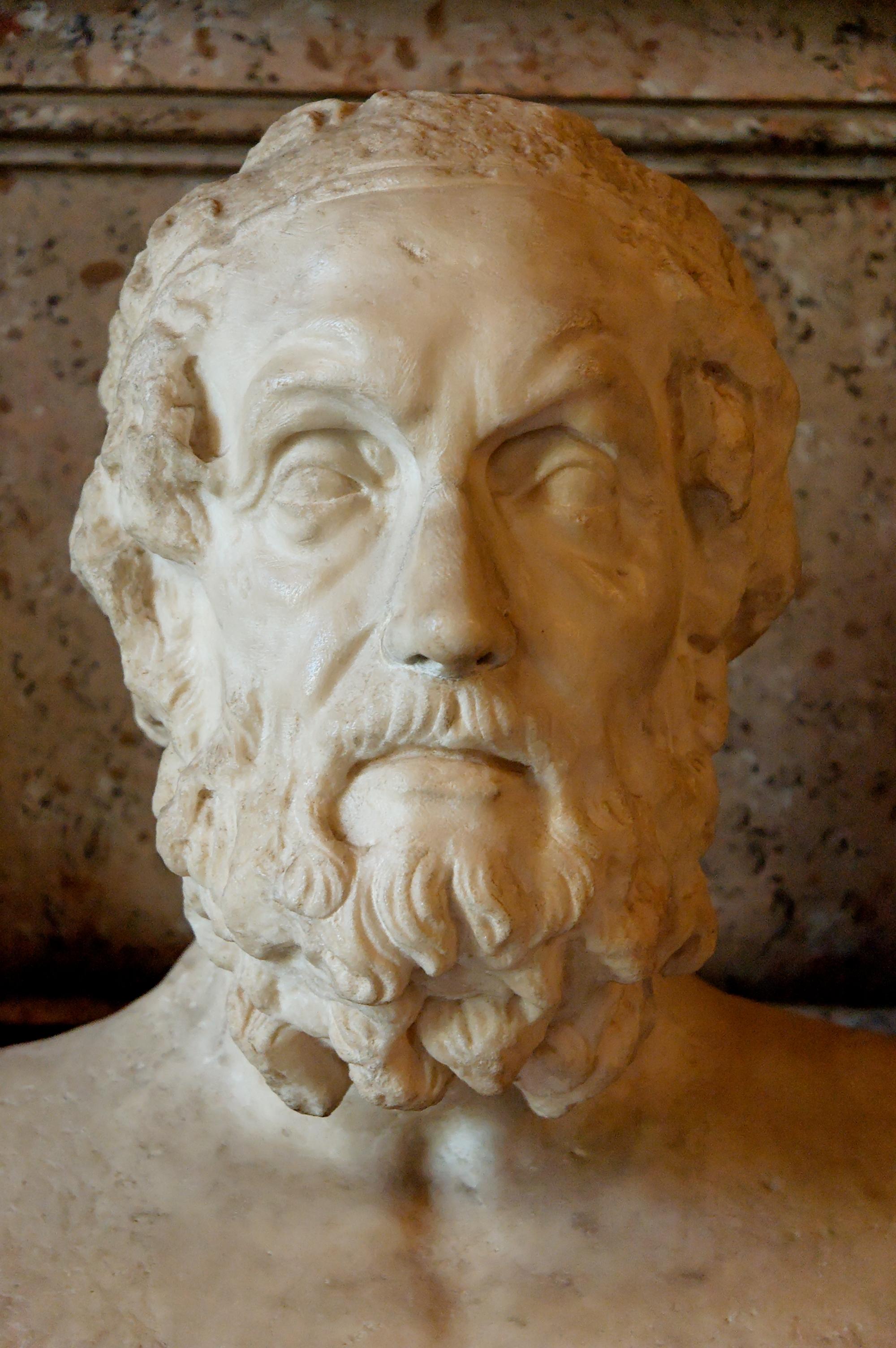 Busto de Homero. Mármol, copia romana de un original helenístico del siglo II a.C., [[Museos Capitolinos]], [[Roma]].