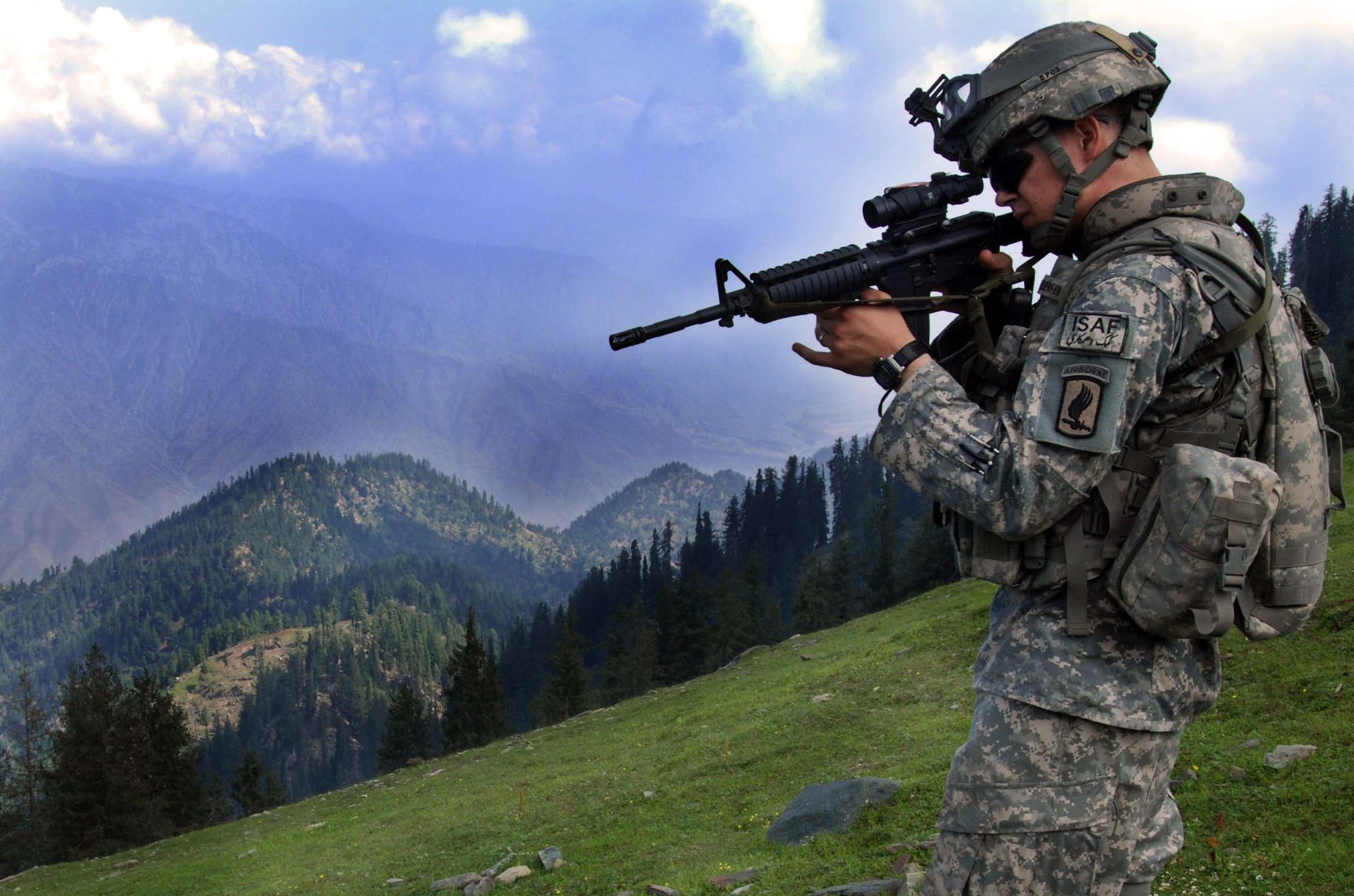 A U.S. Army soldier in Kunar province, Afghanistan, during Operation Saray in April 2006.
