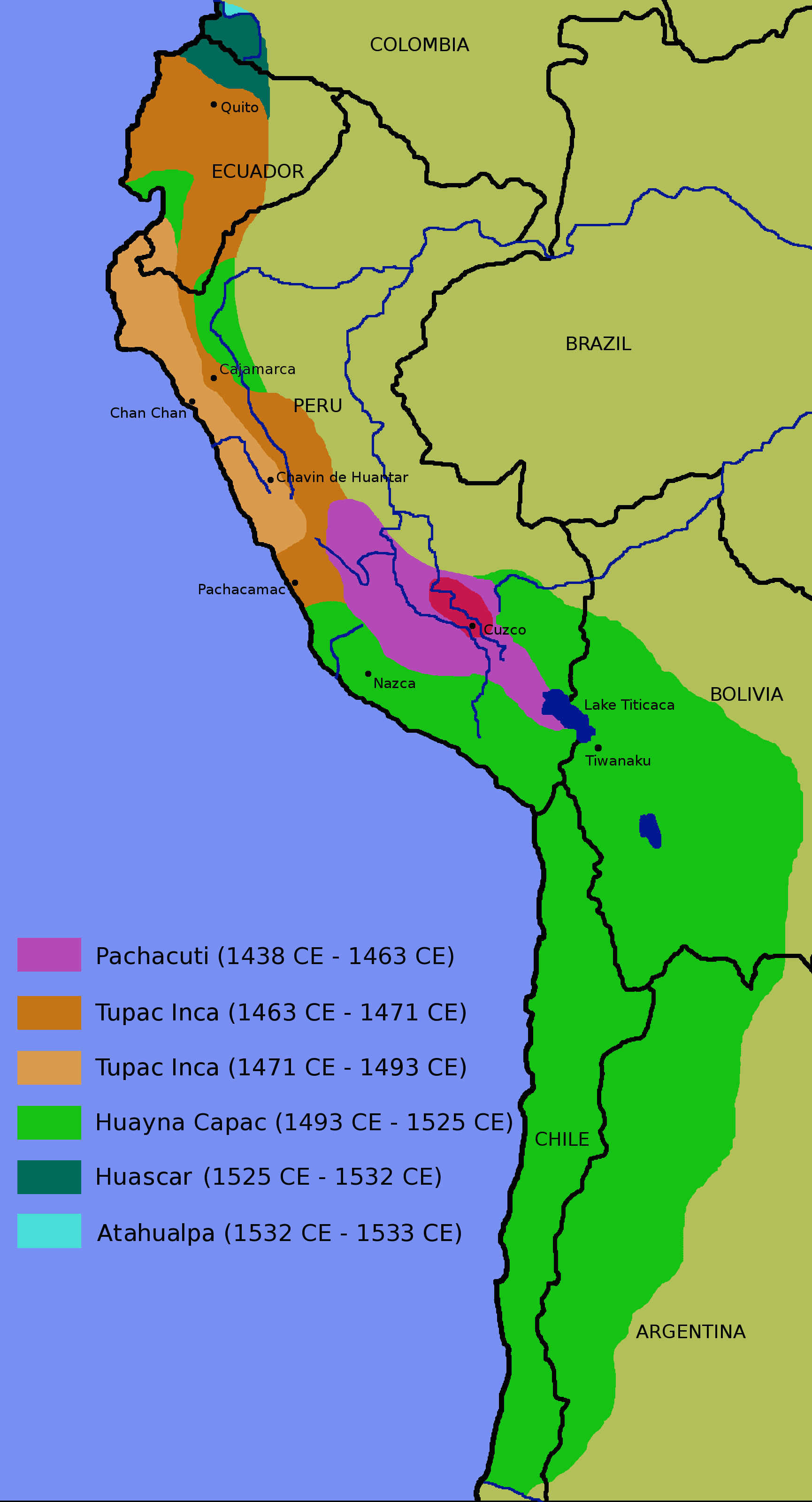 Map depicting expansion of Incan Empire from 1438 to 1527