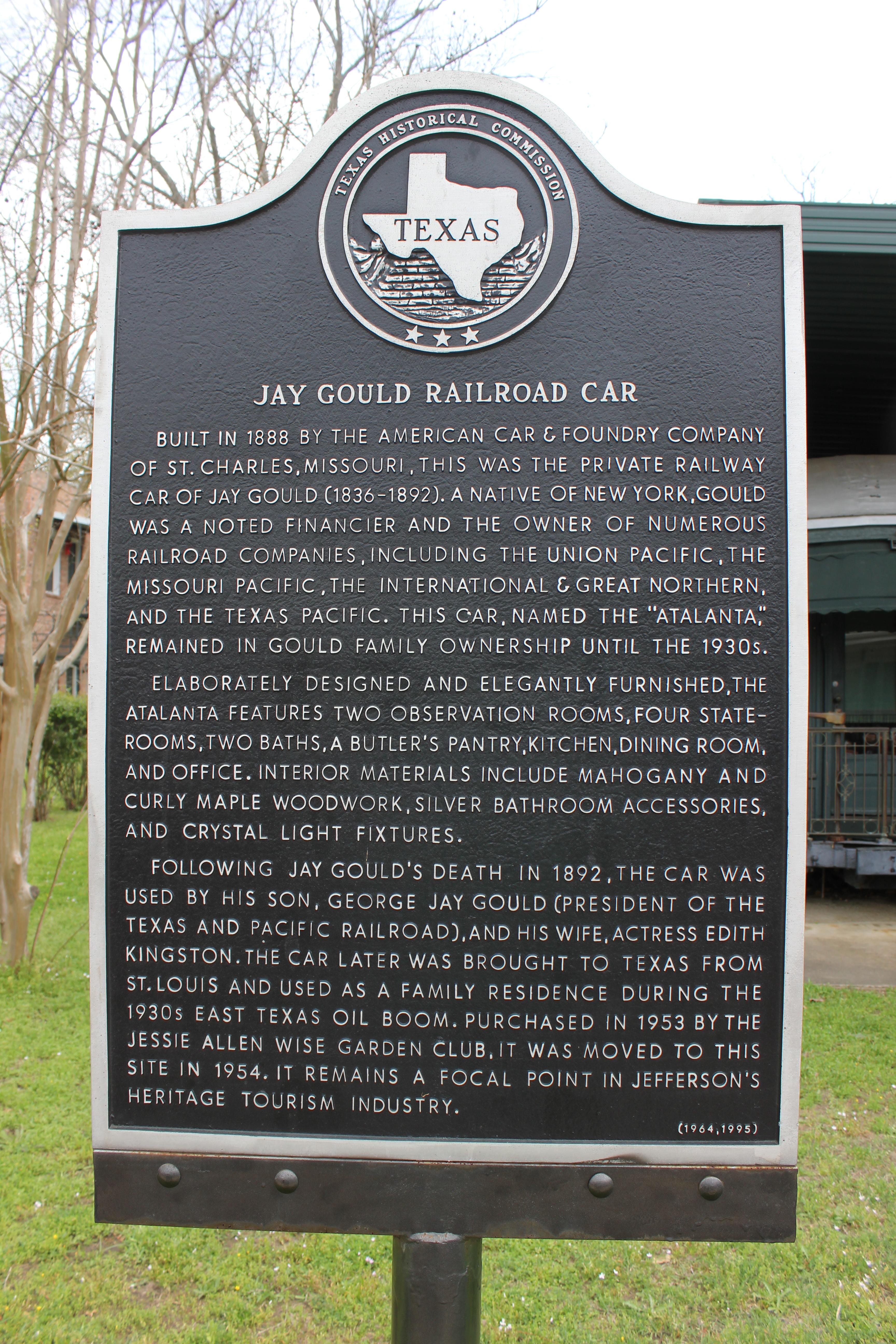 Car bathroom accessories - File Jay Gould Railroad Car Jefferson Texas Historical Marker 7304795176