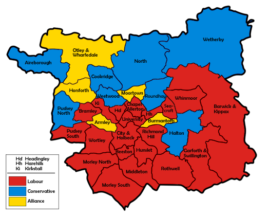 Map of the results for the 1986 Leeds council election.