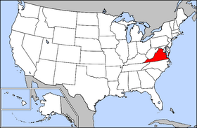 Mapa ning United States with Virginia highlighted