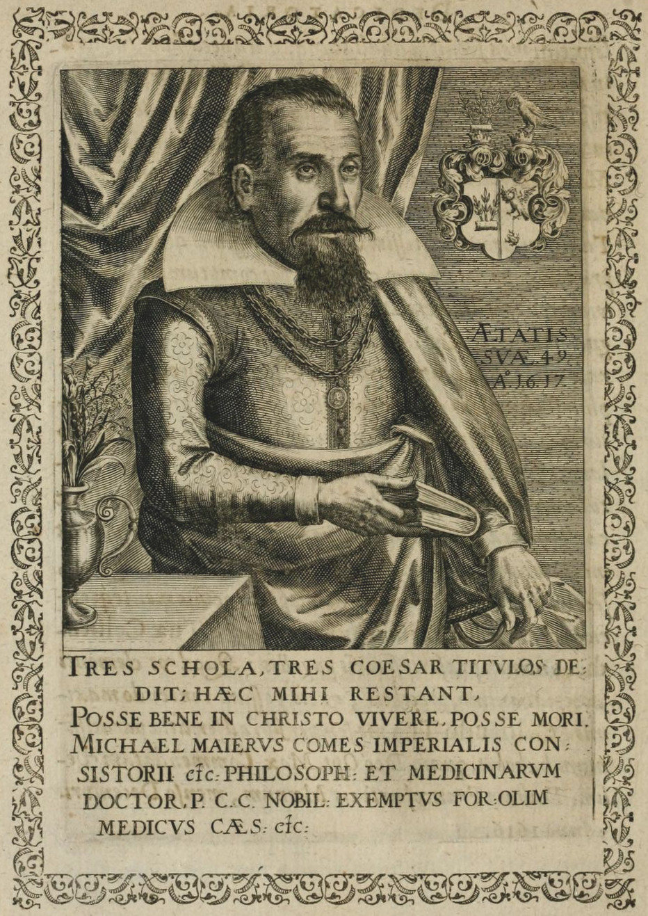 Copper engraving of Michael Maier, from ''Symbola avreae mensae dvodecim nationvm''. ([[Matthäus Merian]], 1617)