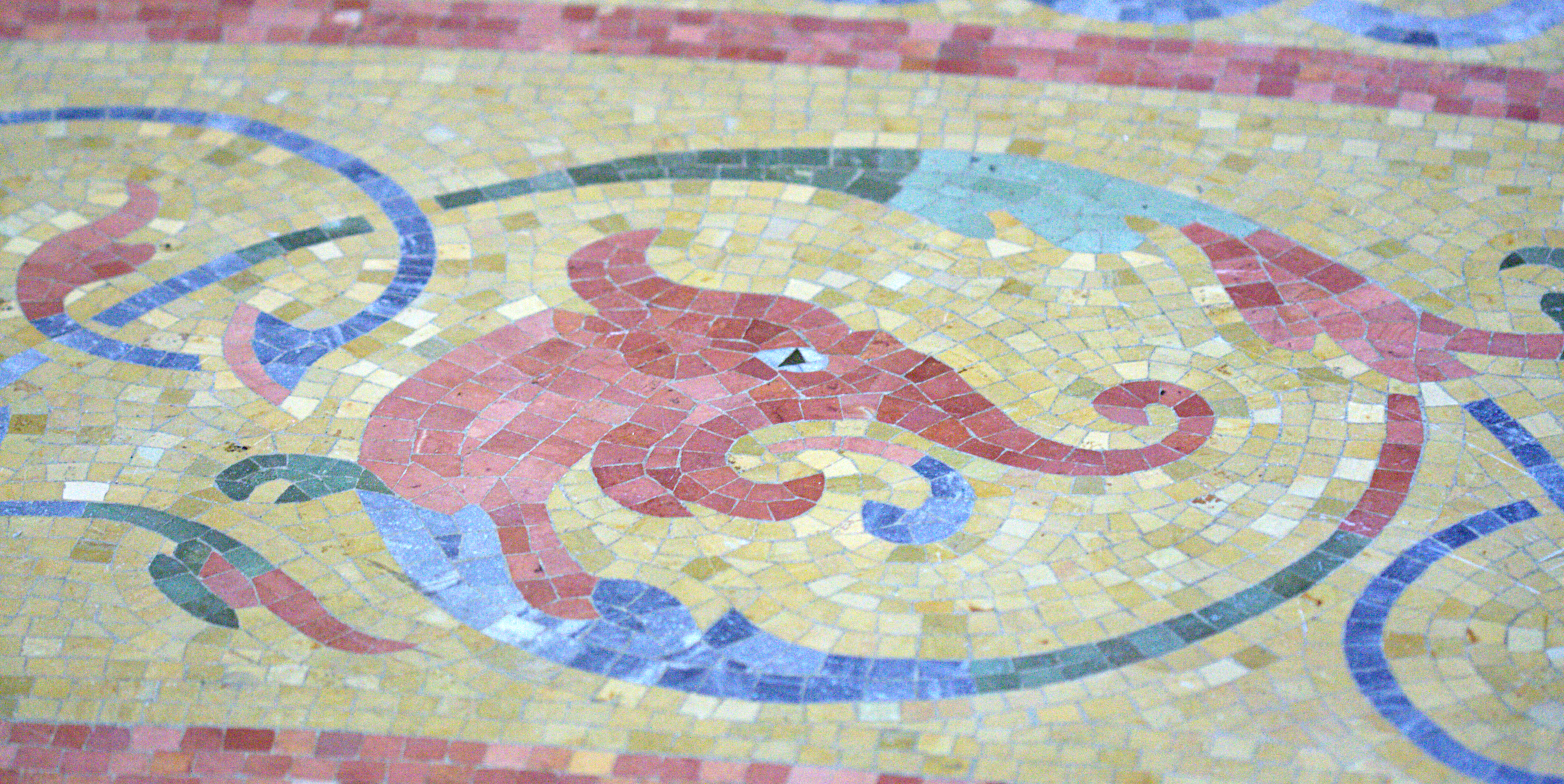 Description Mosaic Tile Floor Of The Milwaukee Public Library Dragon