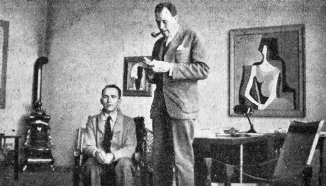 Painter František Muzika (left) and sculptor Bedřich Stefan (1896–1982) in Muzika's studio.