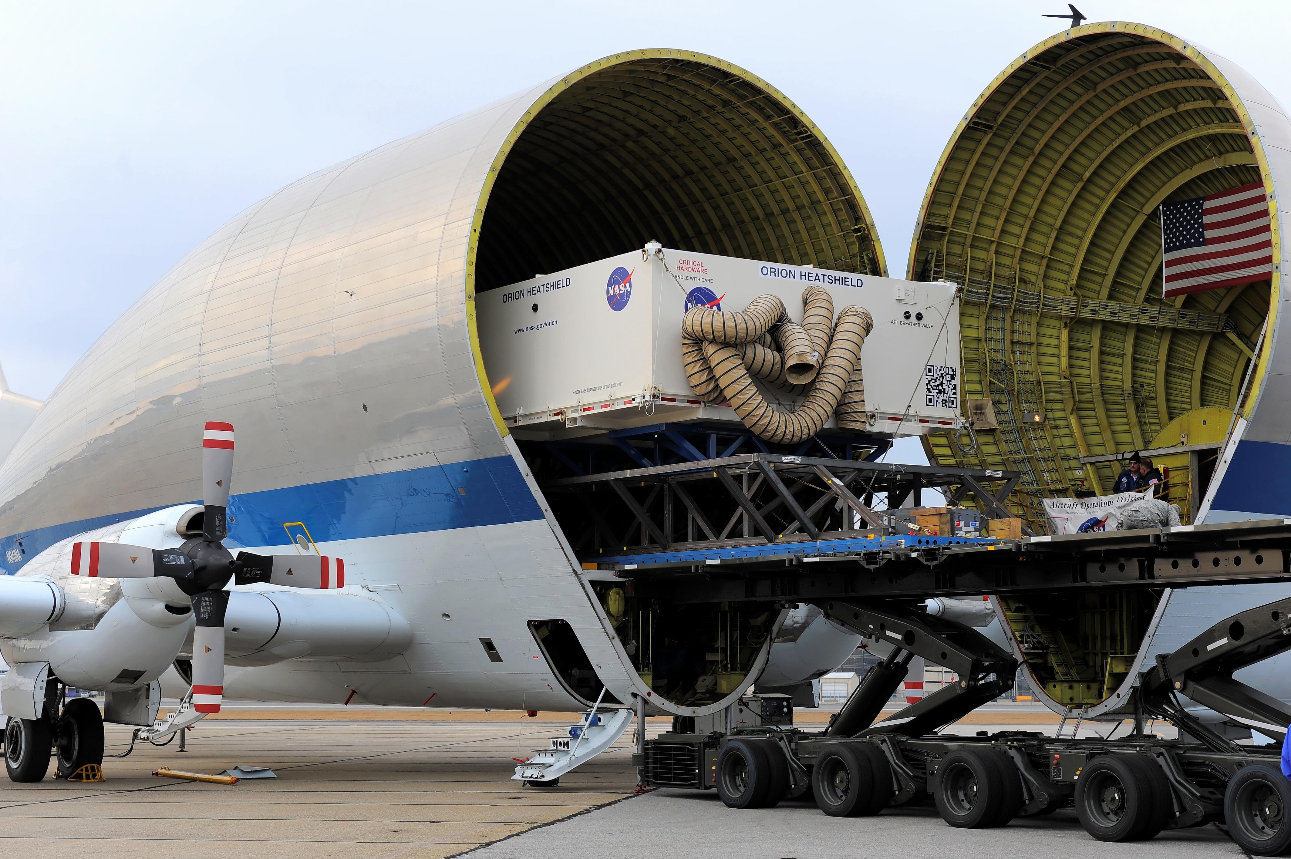 Orion heat shield transported aboard a super guppy plane ...