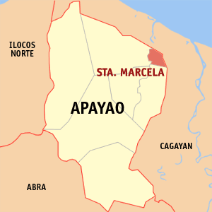 Map of Apayao showing the location of Santa Marcela