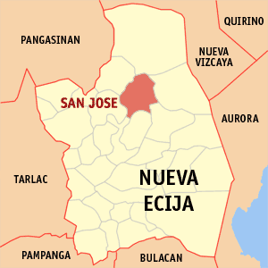 Map of Nueva Ecija showing the location of San Jose City