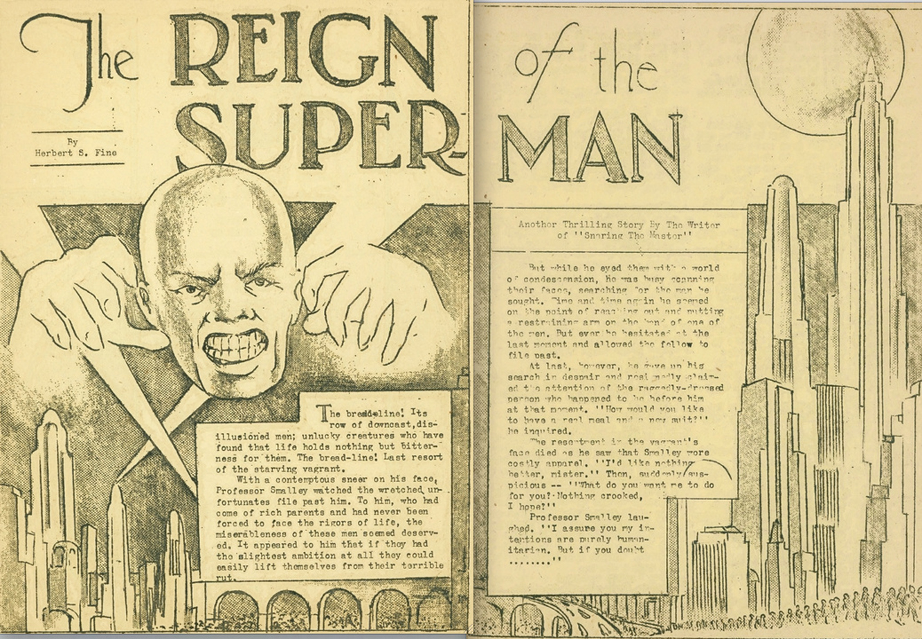 "Two-page spread titled ""The Reign of the Superman"". On the left page is a bald men, and along both pages is a futuristic town."