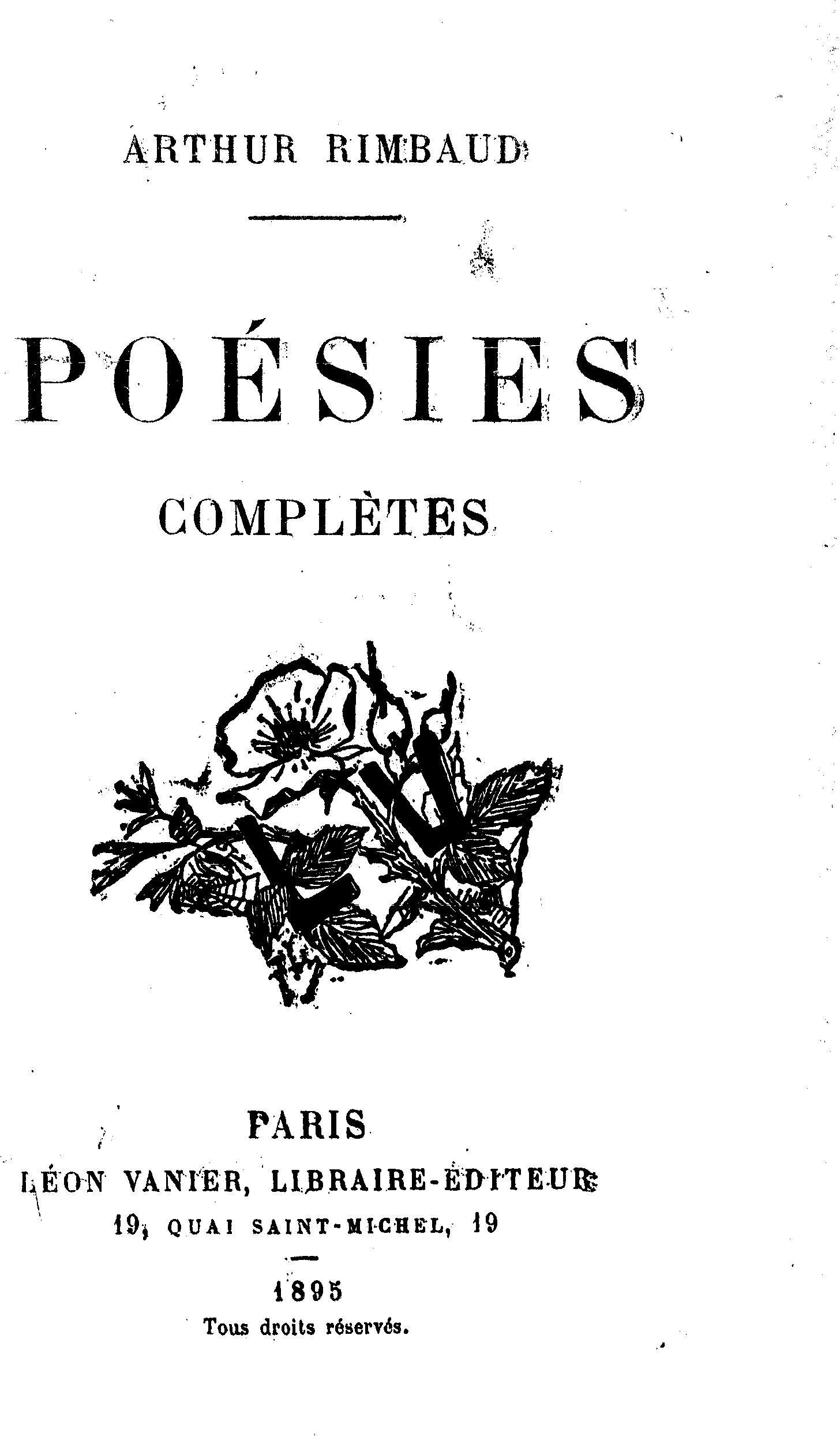 Cubierta de la primera edición de las Poésies complètes de Rimbaud.