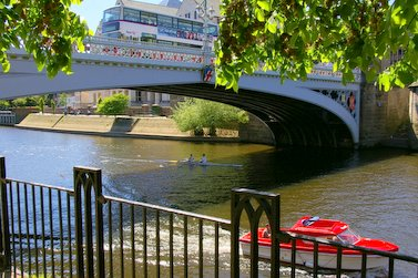 The city's Lendal Bridge crosses the Ouse River Ouse and Lendal Bridge from Riverside Walkway - geograph.org.uk - 238516.jpg