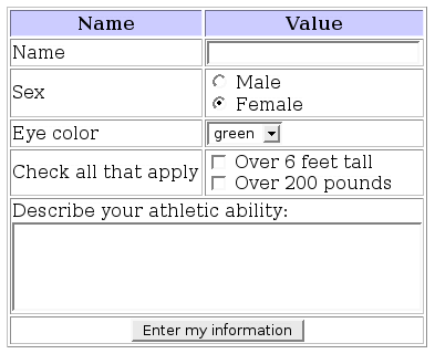 Sample web form