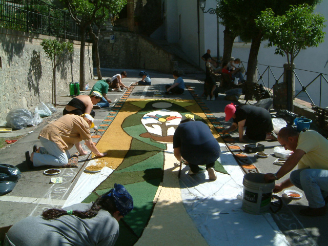 Infiorata preparations in San Gemini for the celebration of Corpus Domini.