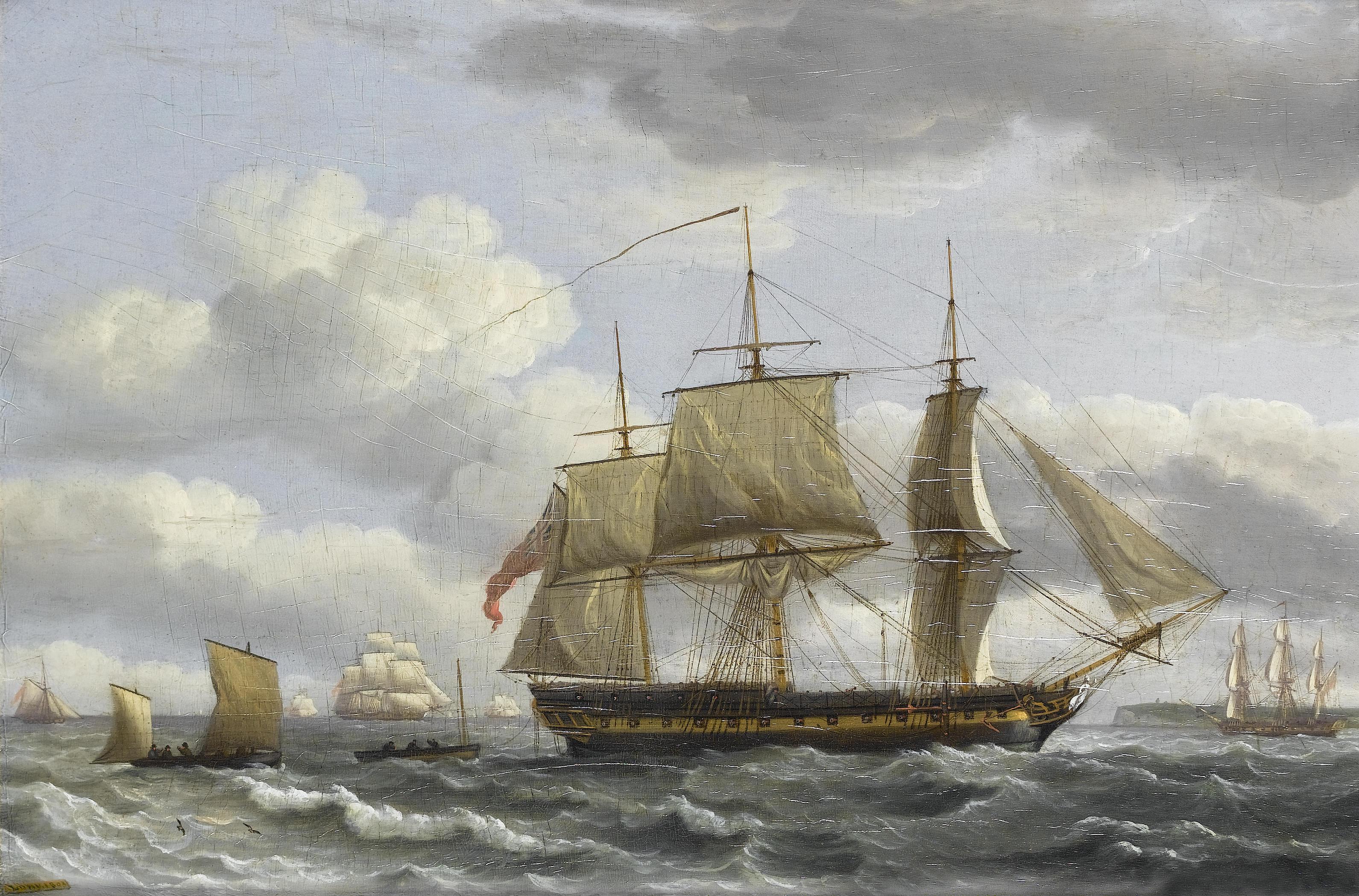 Een schilderij van een 19de eeuws zeilschip met de zeilen bak.