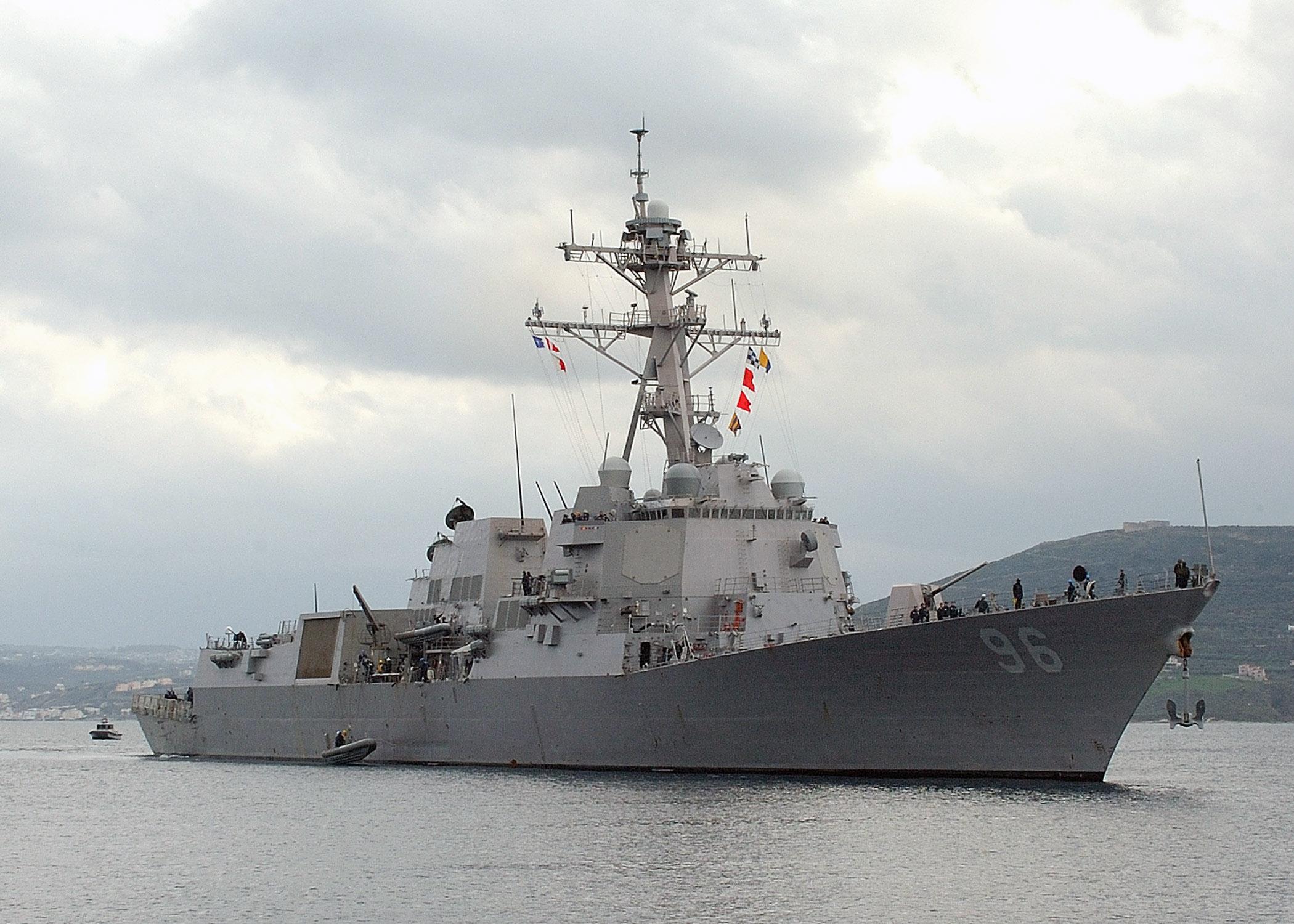USS Bainbridge (DDG 96) arrives at NATO Pier Facility in Souda harbour