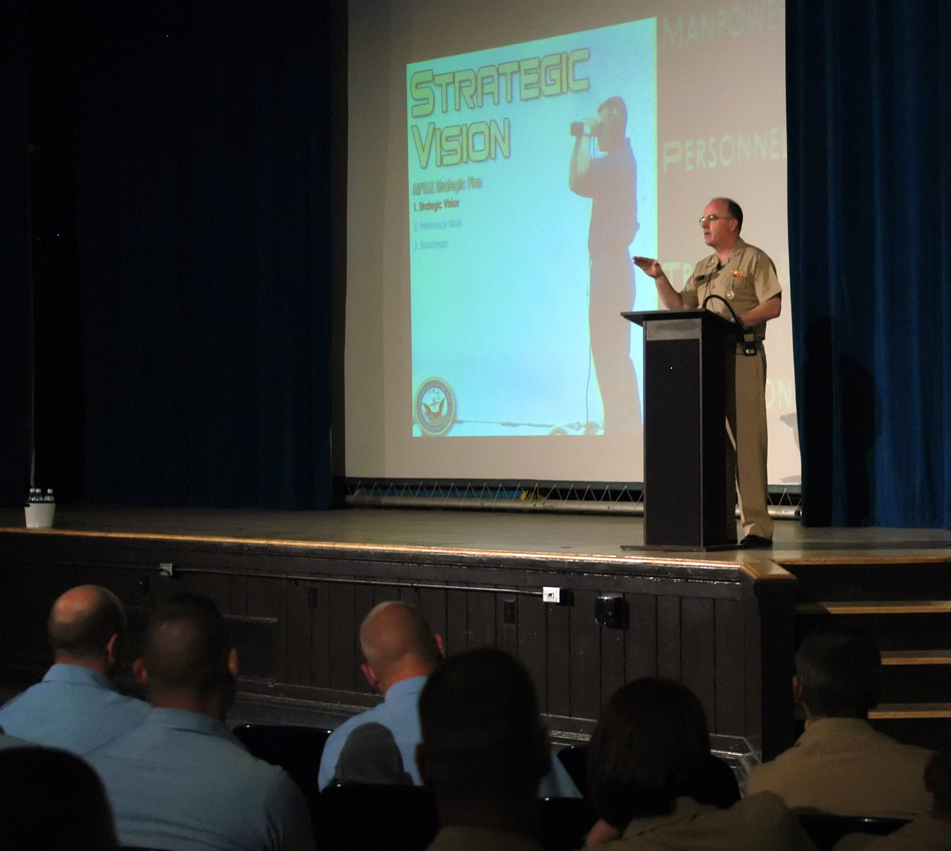 File:US Navy 060608-N-7750K-028 Chief of Naval Personnel Vice Adm. John C.  Harvey Jr. addresses all hands in the auditorium at Naval Aviation Schools  ...