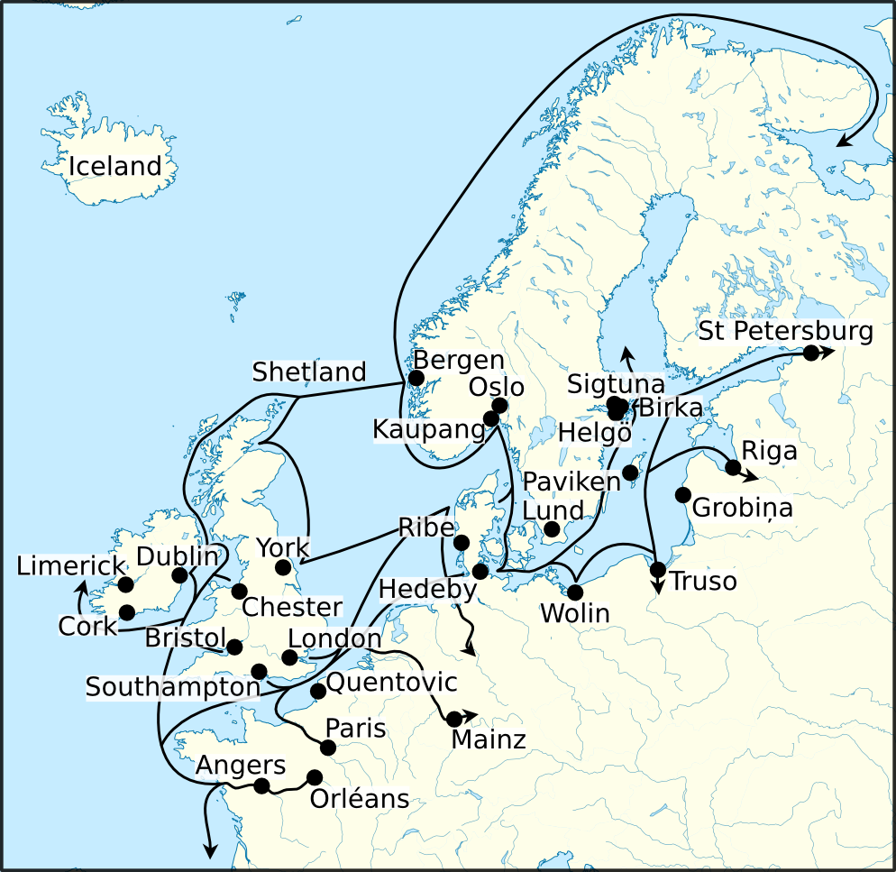 map of europe viking age File:Viking Age trade routes in north west Europe.png   Wikimedia