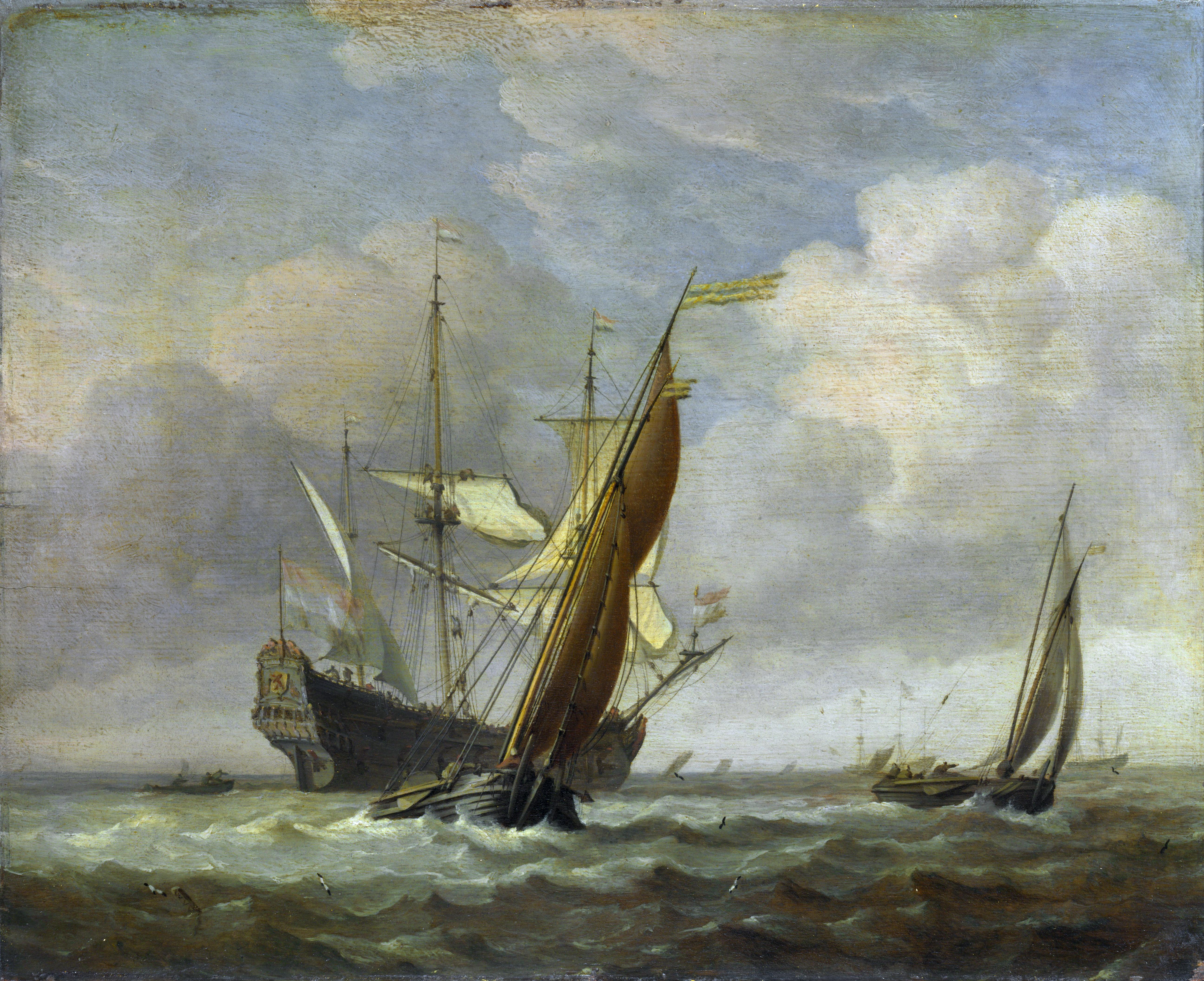 file willem van de velde ii two small vessels and a dutch man of