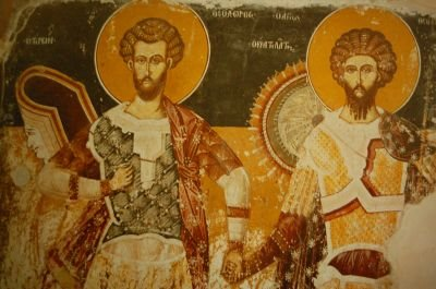 Icon of Great-Martyrs Theodore Tyro and Theodore Stratelates (16th century, Monastery of the Transfiguration, Prilep, Macedonia). Sveti Teodor Tiron i Teodor Stratilat.JPG