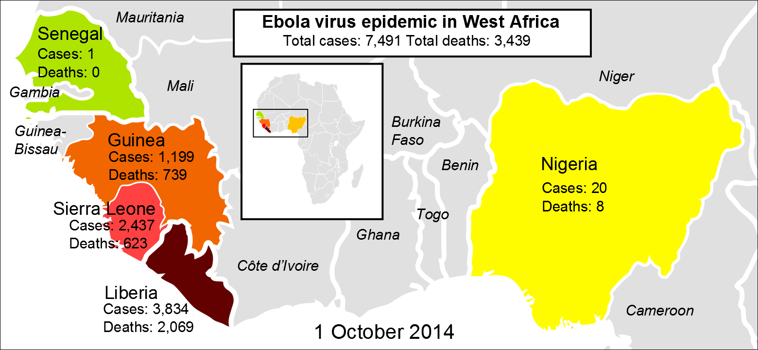 Ebola 2014 Outbreak Map