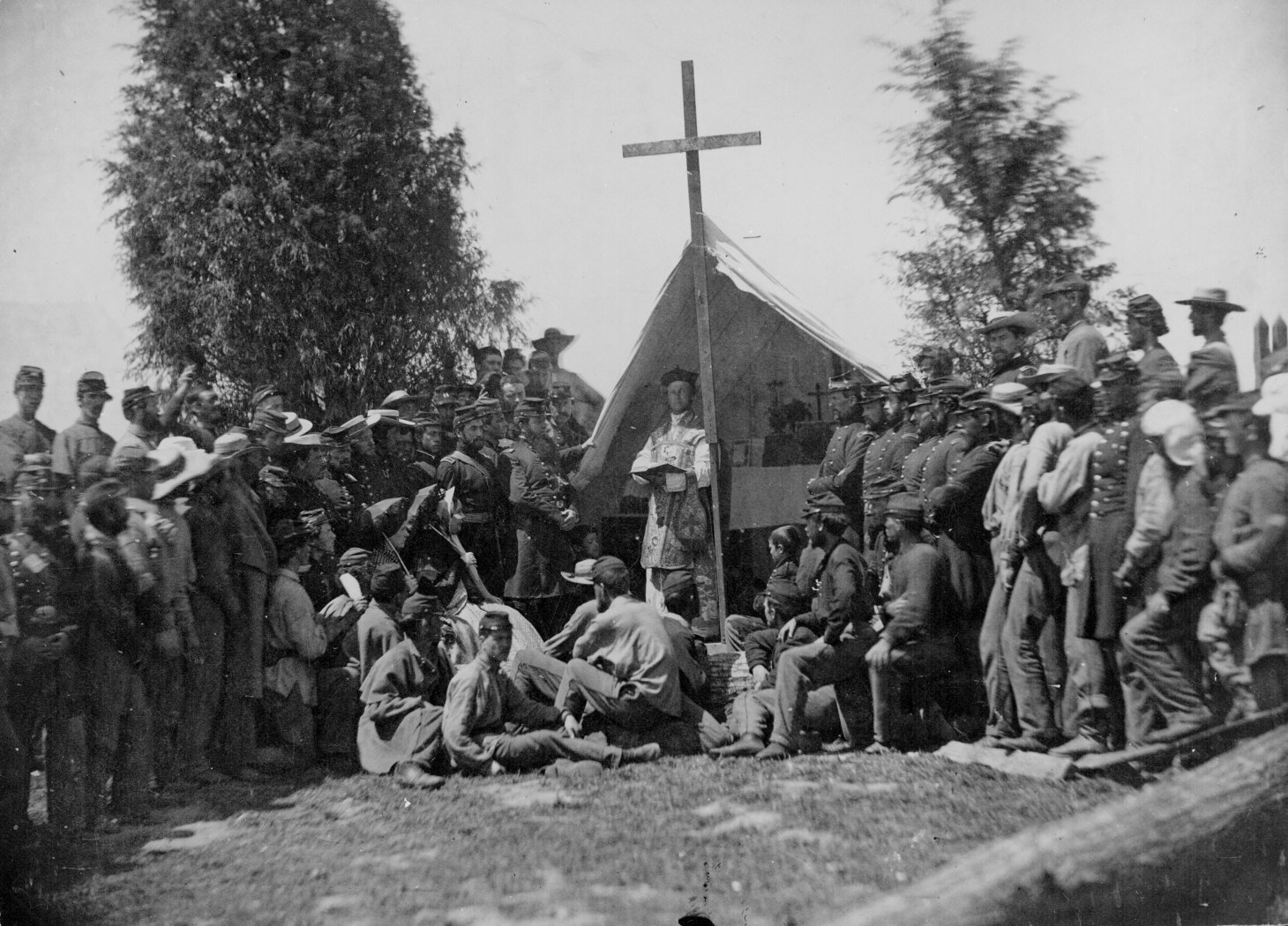 Officers and men of the Irish-Catholic 69th New York Volunteer Regiment attend church services at Fort Corcoran in 1861.