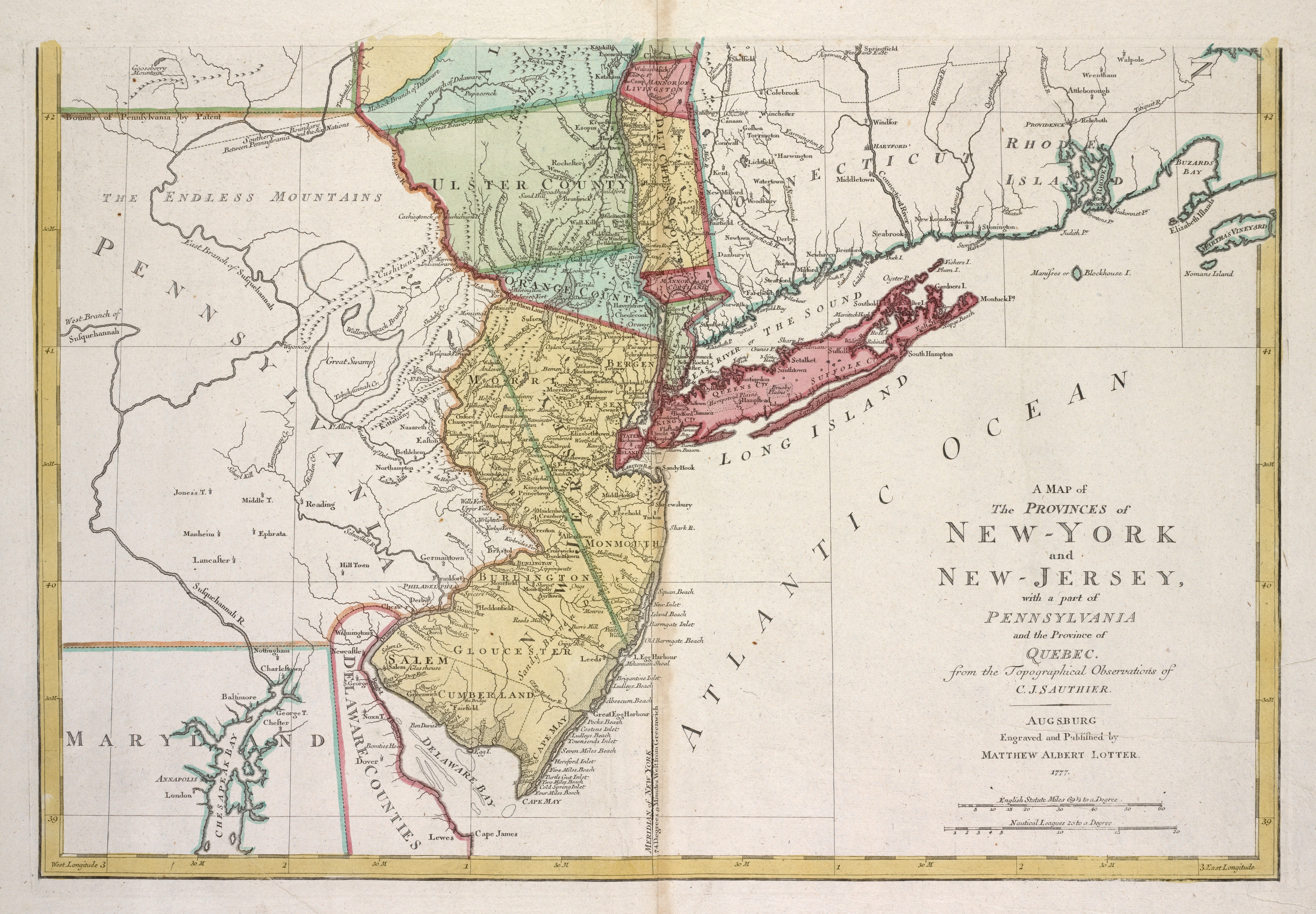 Map Of New York Pennsylvania And New Jersey.File A Map Of The Provinces Of New York And New Jersey With A Part