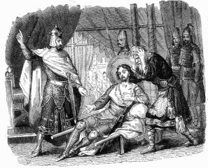 Adelchi sconfitto da Carlo Magno, opta per l'esilio.