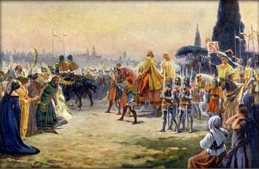 Adolf Liebscher - Karel IV. s Annou Svídnickou vjíždí roku 1355 do Říma