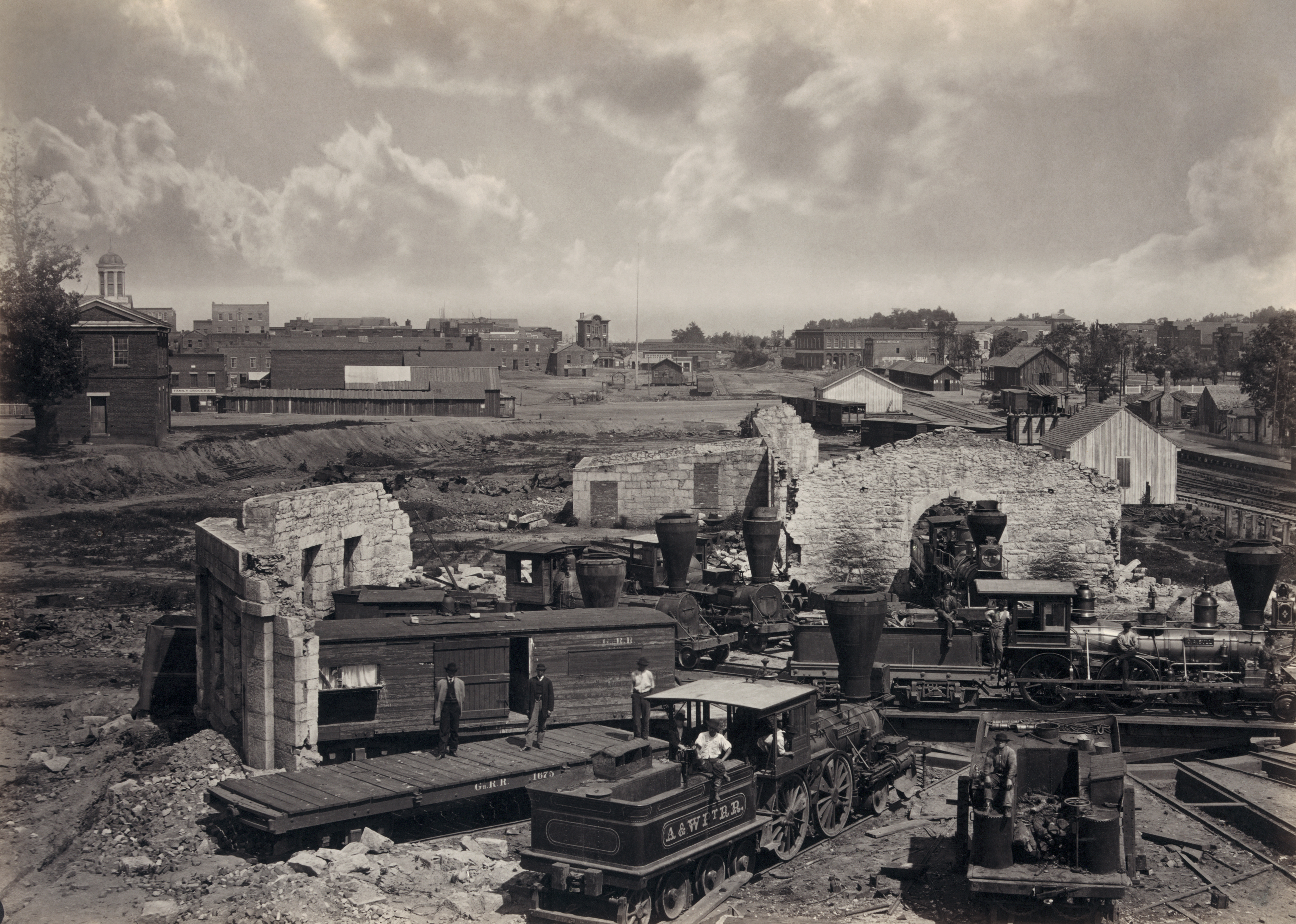 photographers of the american civil war ruined roundhouse in atlanta after the atlanta campaign albumen print by george barnard 1866 digitally restored a distinctive attribute of