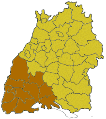 Map of Baden-Württemberg highlighting the  Regierungsbezirk of Freiburg