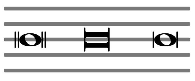 Unterschiedliche Schreibweisen der doppelten ganzen Note