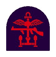 Insignia of Combined Operations units it is a combination of a red Thompson submachine gun, a pair of wings, and an anchor on a navy blue background