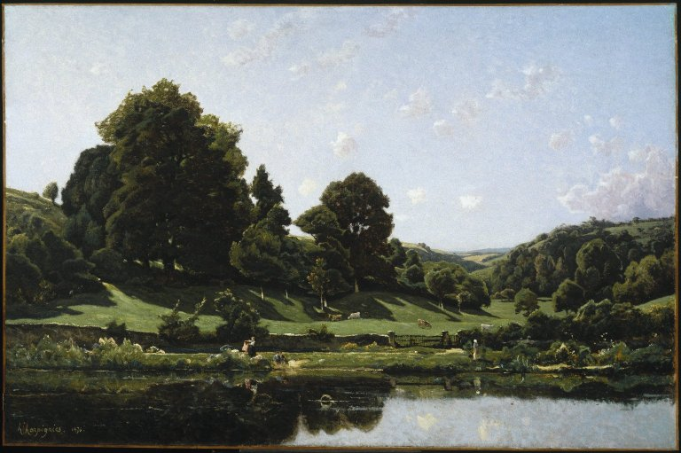 File:Brooklyn Museum - A                   Meadow in the Bourbonnais Morning (Une Prairie du                   Bourbonnais par un effet de matin) - Henri-Joseph                   Harpignies.jpg
