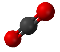 Carbon dioxide (CO2), an example of a chemical compound Carbon dioxide structure.png