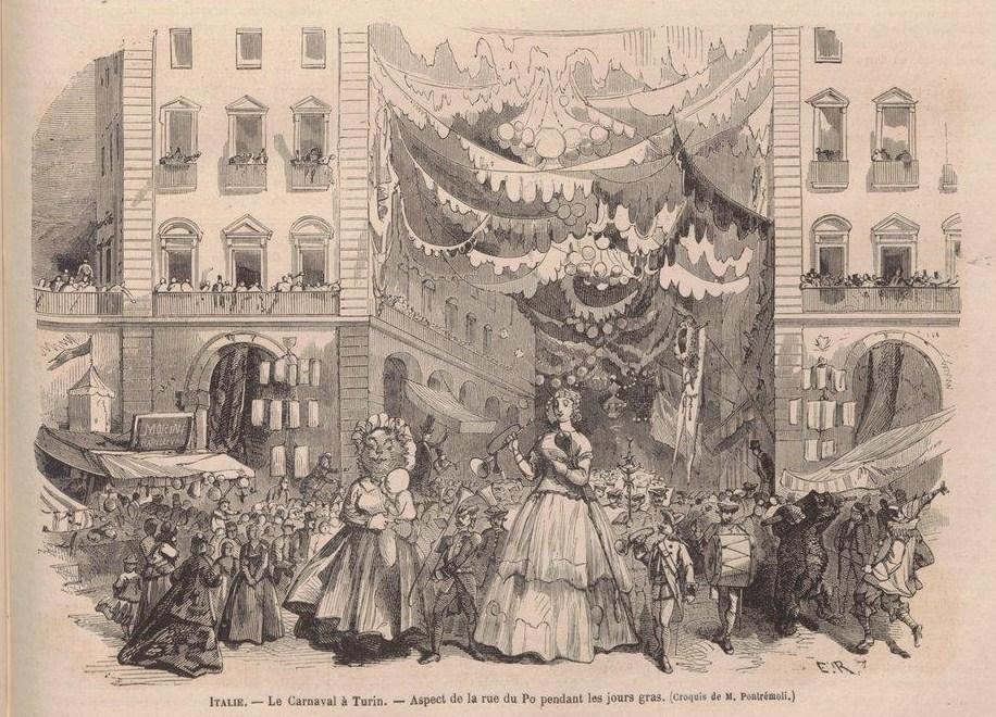 Carnaval de Turin sur la via Po dessin de Pontrémoli (vers 1870).