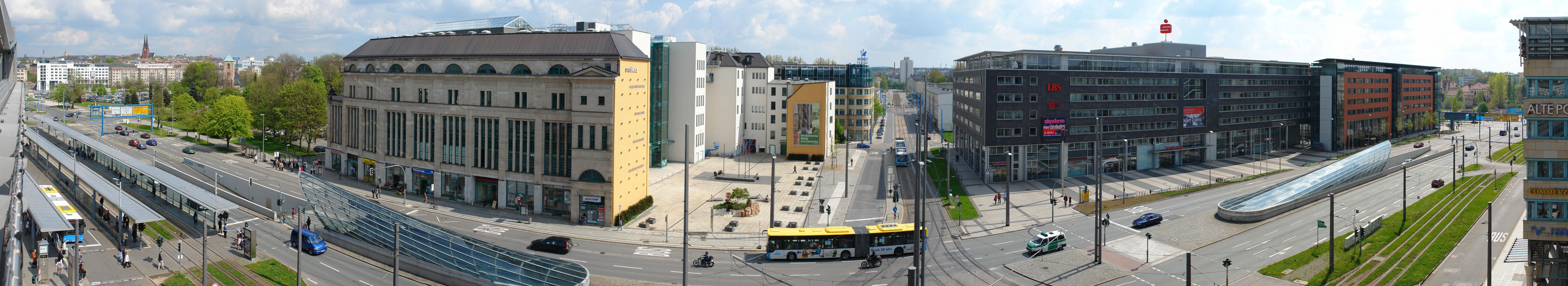 Panorama vom Parkhaus des Gläsernen Kaufhauses auf das DASTietz, dem Moritzhof und dem Bürgerverwaltungszentrum