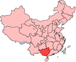 Kawasan Autonomi Zhuang Guangxi is highlighted on this map