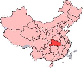Hubeis läge i Kina.