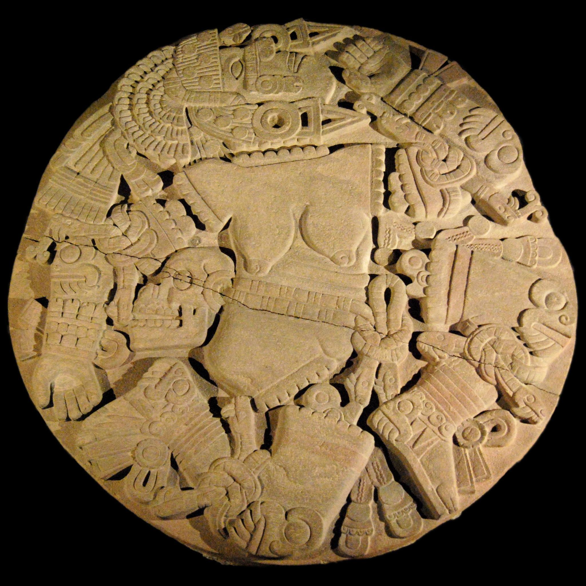Le monolithe de Coyolxauhqui, trouvé dans l'enceinte du Templo Mayor