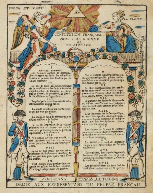 1789年法國《人權宣言》印刷品,現存於法國大革命博物館。