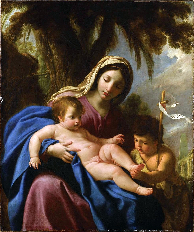 Eustache Le Sueur - The Virgin and Child, with St John the Baptist (1640)