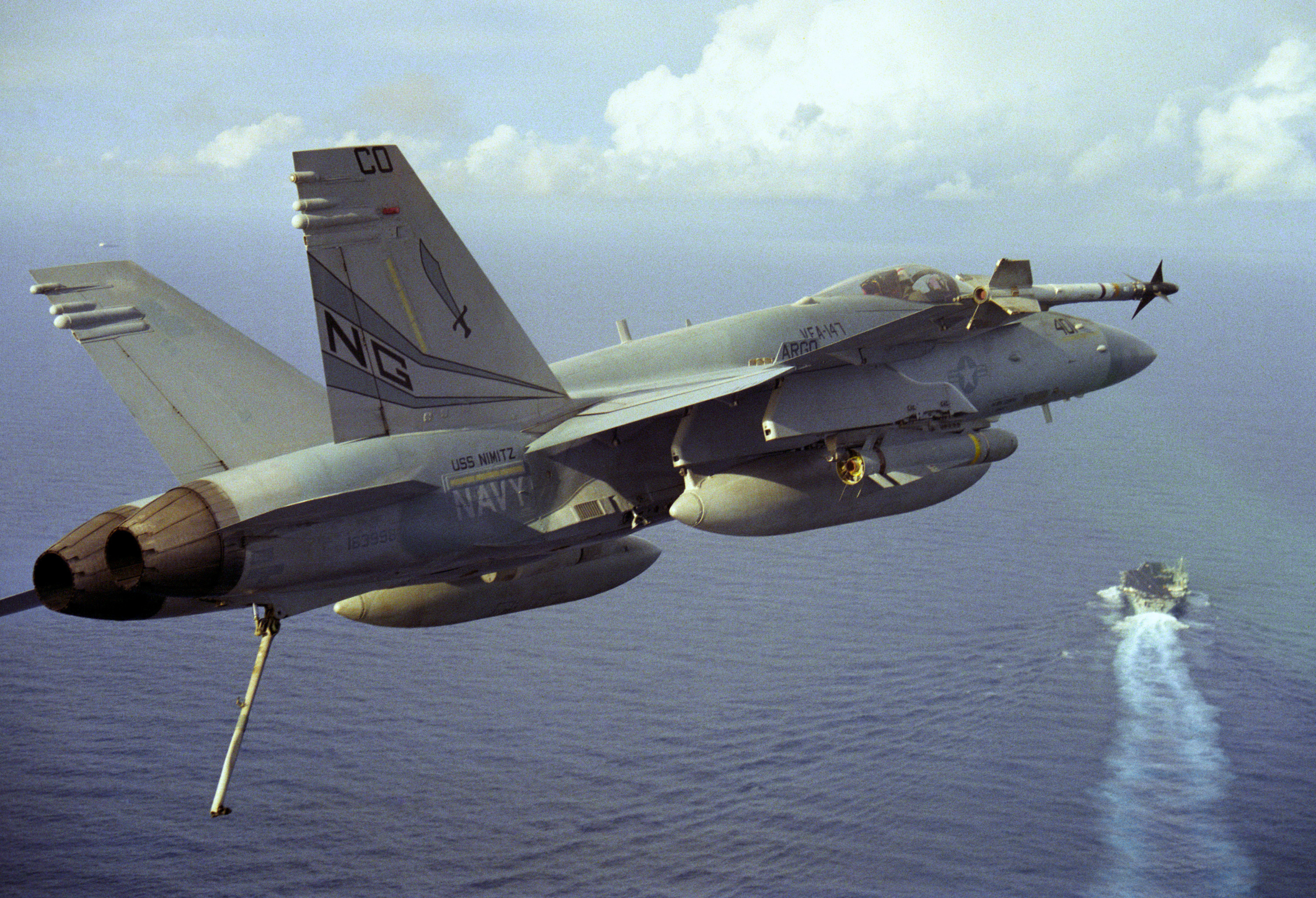 File F 18c Vfa 147 Over Uss Nimitz Cvn 68 1996 Jpeg