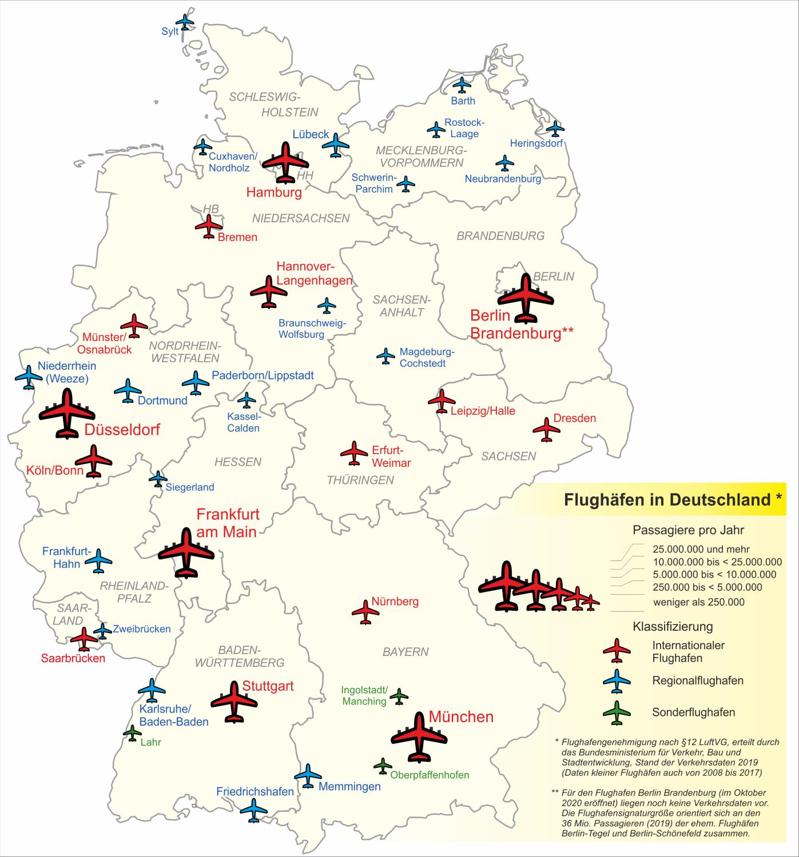Saksan lentokentät kartta