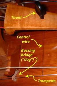 Entire buzzing bridge system for a French-style instrument, with part labels